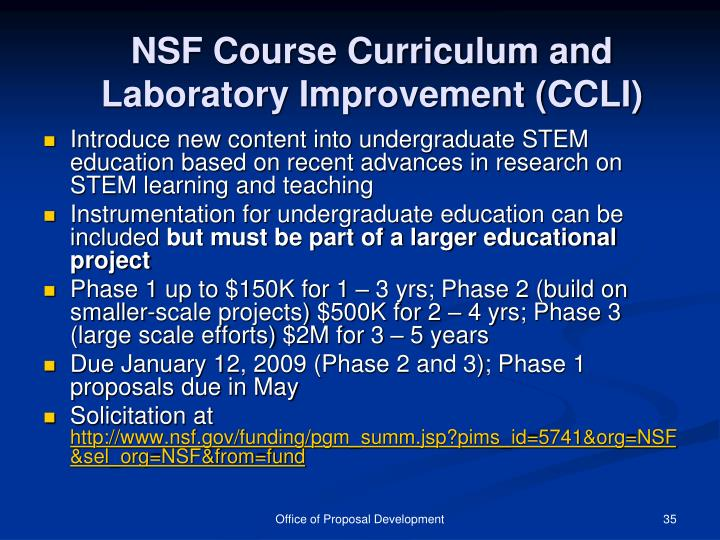 NSF Course Curriculum and Laboratory Improvement (CCLI)
