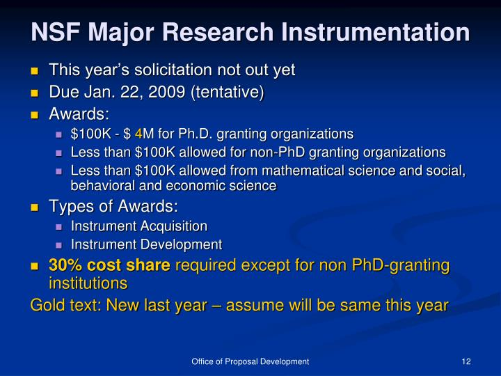 NSF Major Research Instrumentation