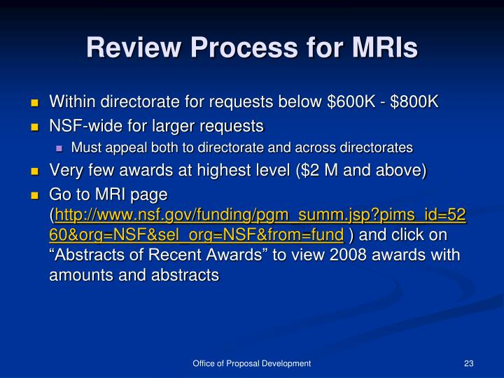Review Process for MRIs