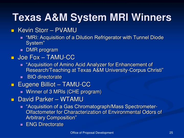 Texas A&M System MRI Winners