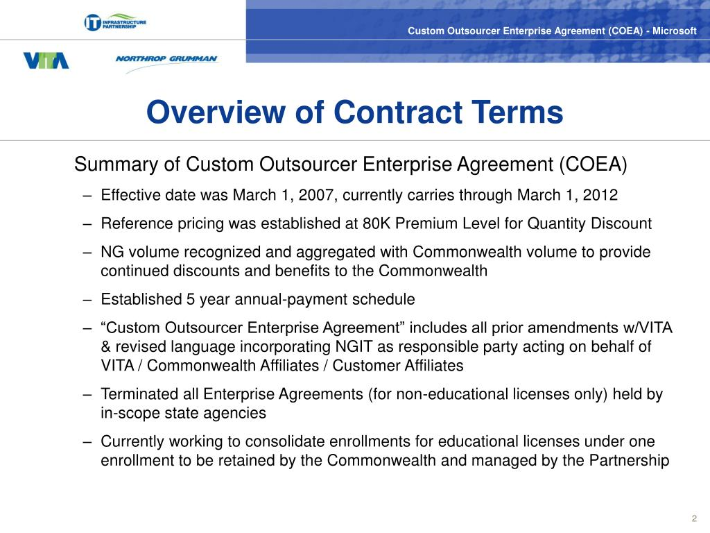 Overview of Contract Terms