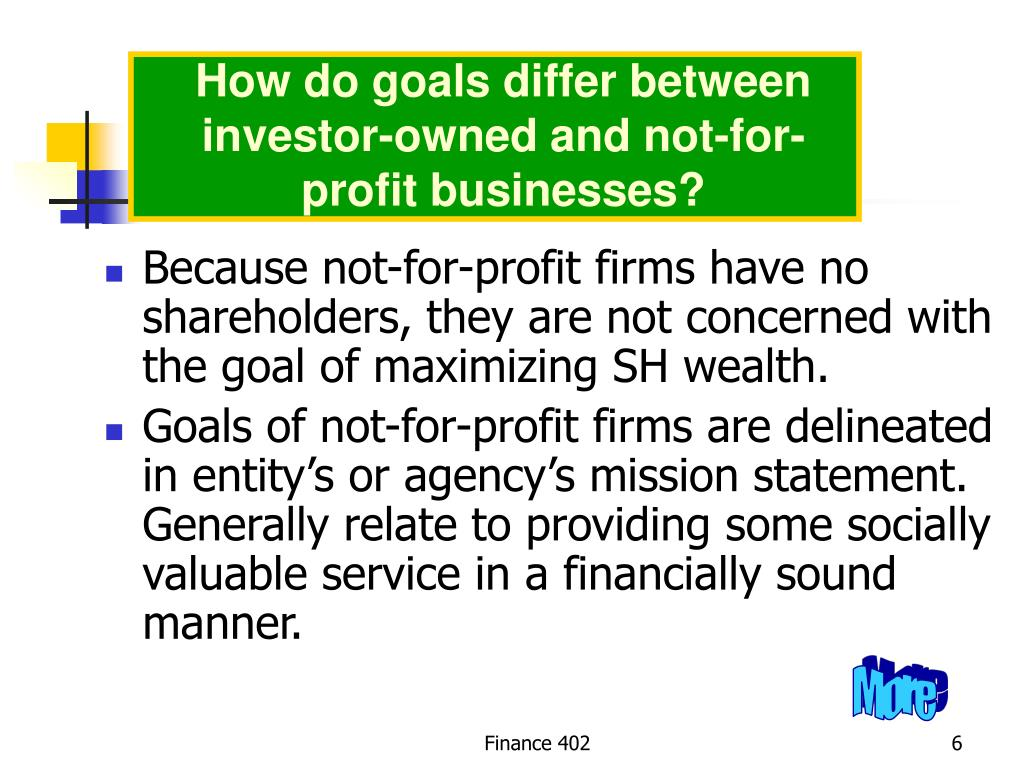 How do goals differ between investor-owned and not-for-