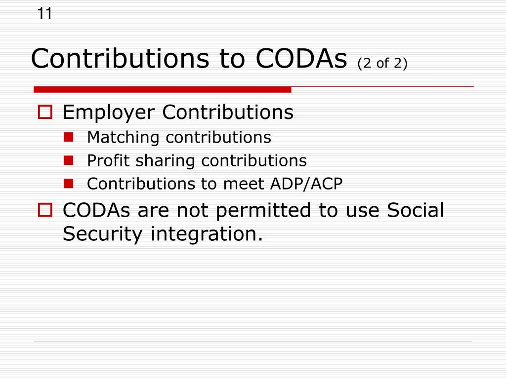 Contributions to CODAs