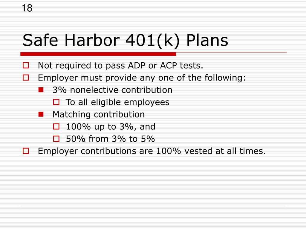 Safe Harbor 401(k) Plans