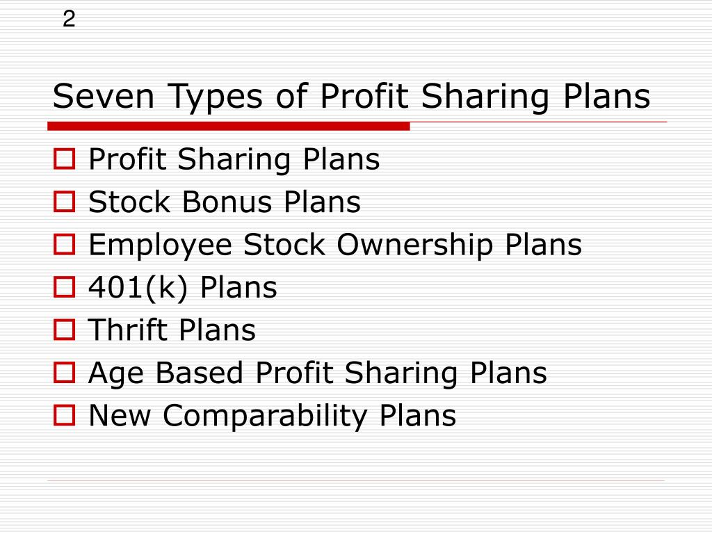 Seven Types of Profit Sharing Plans