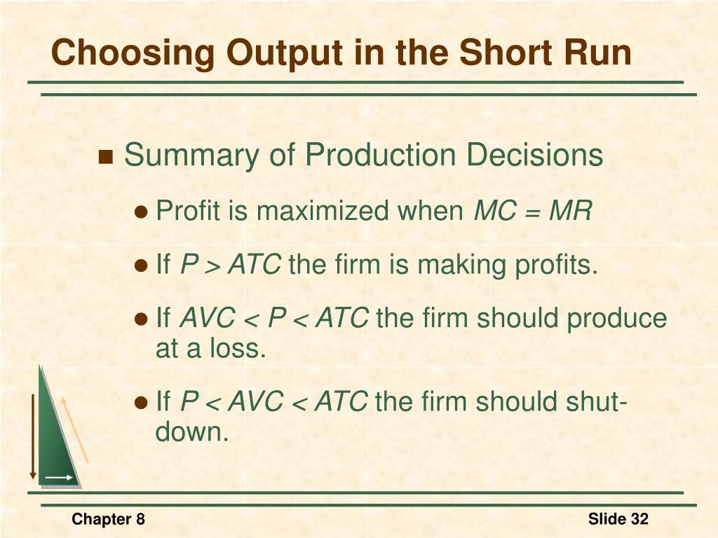 Choosing Output in the Short Run