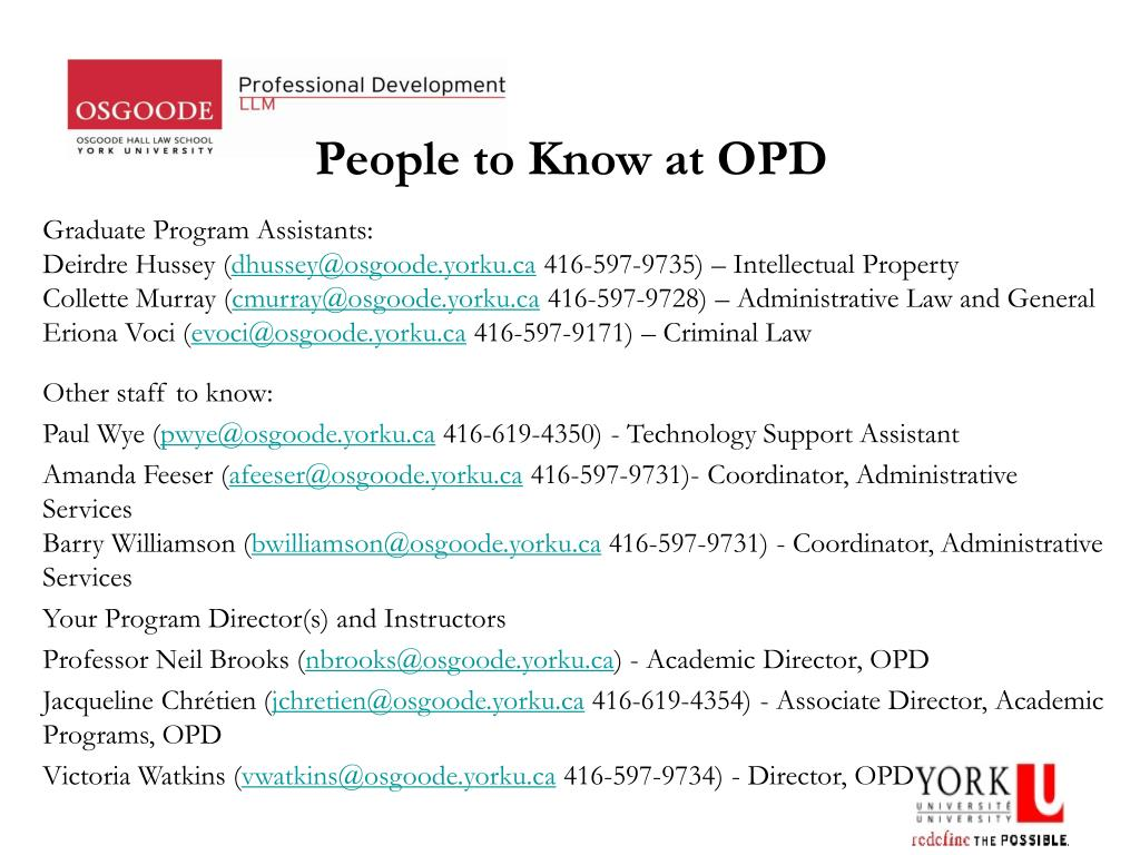 People to Know at OPD