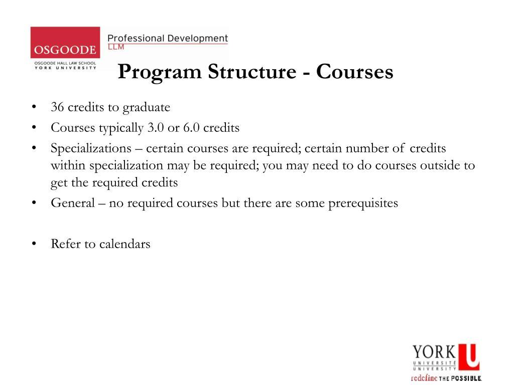 Program Structure - Courses