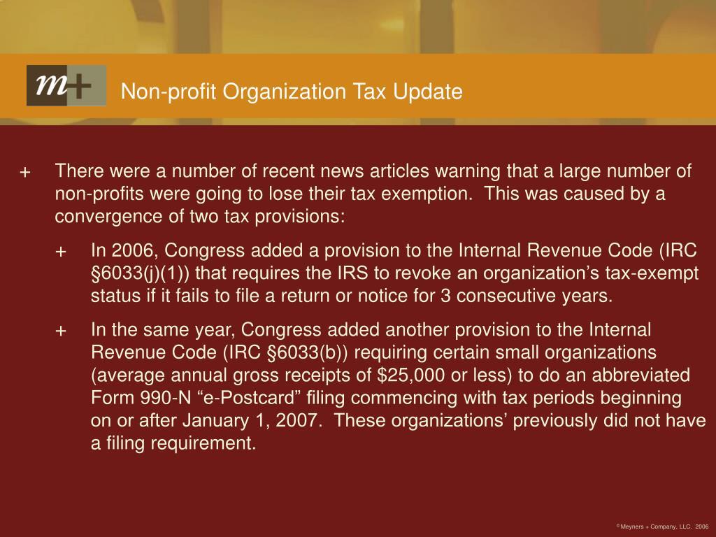 Non-profit Organization Tax Update