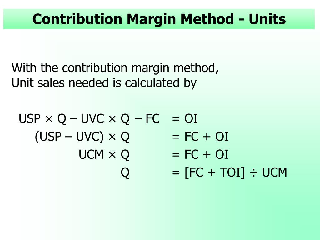 Contribution Margin Method - Units