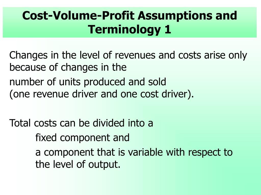 Cost-Volume-Profit Assumptions and Terminology 1