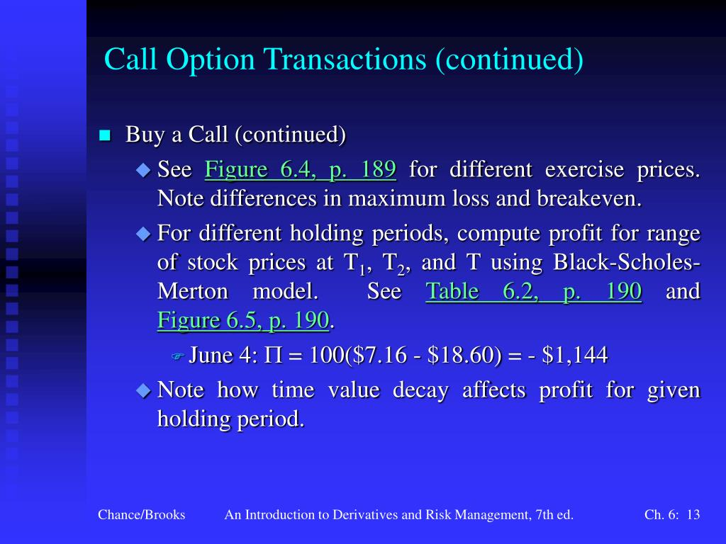 Call Option Transactions (continued)