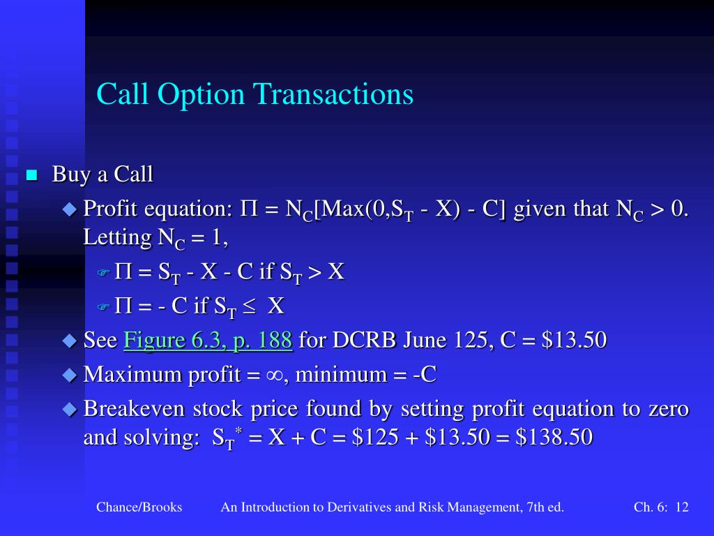 Call Option Transactions