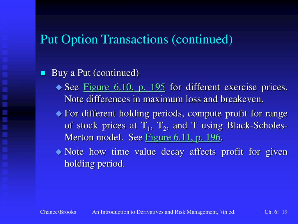 Put Option Transactions (continued)