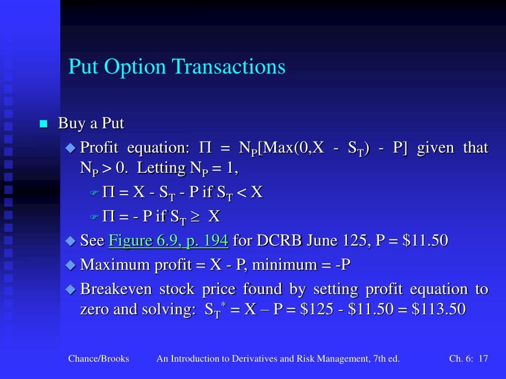 Put Option Transactions