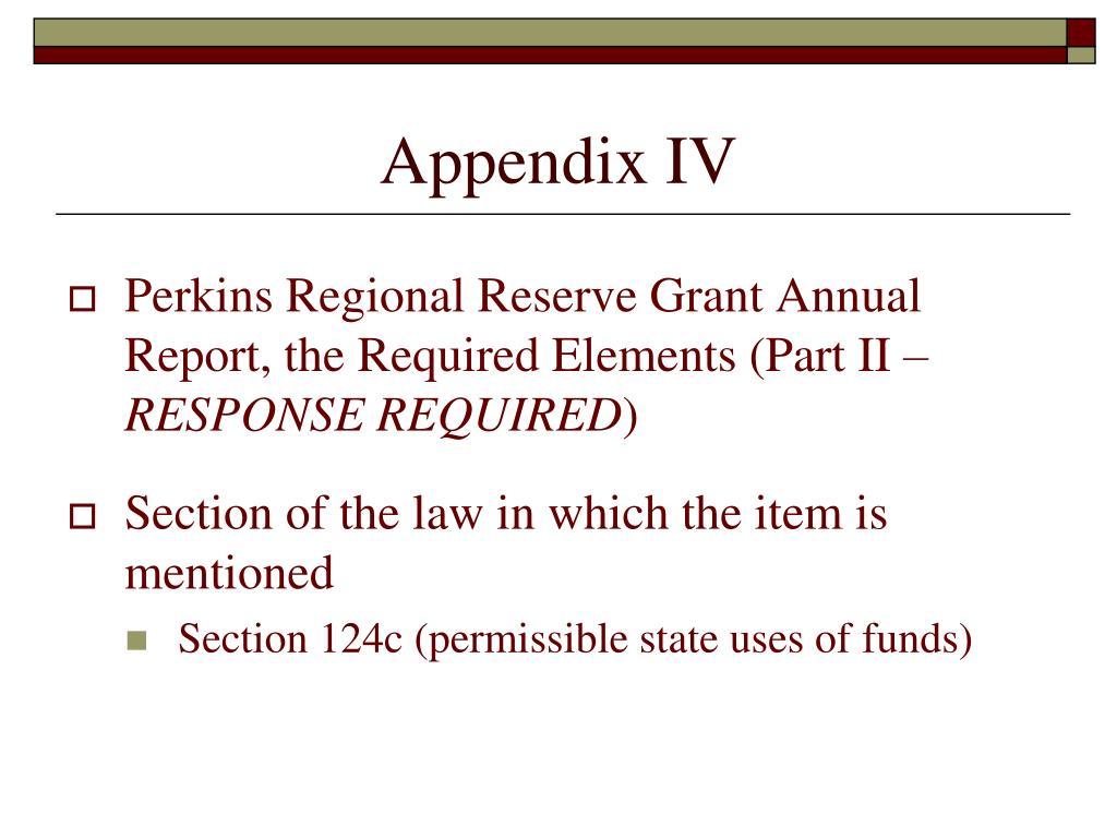 Appendix IV