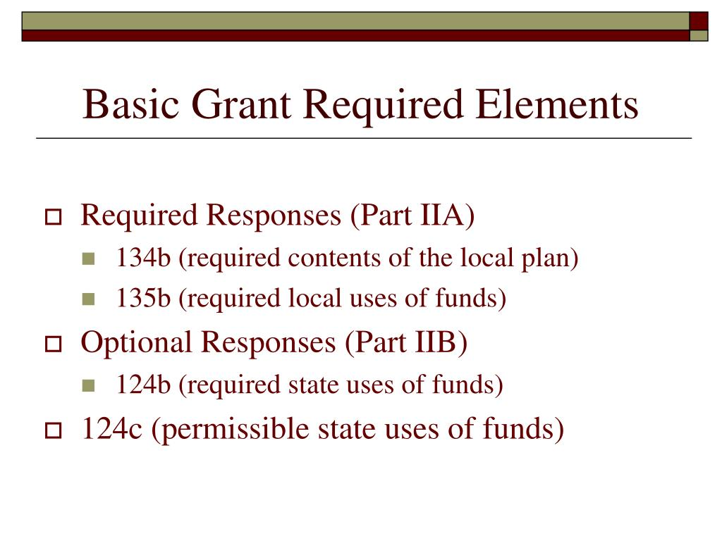 Basic Grant Required Elements
