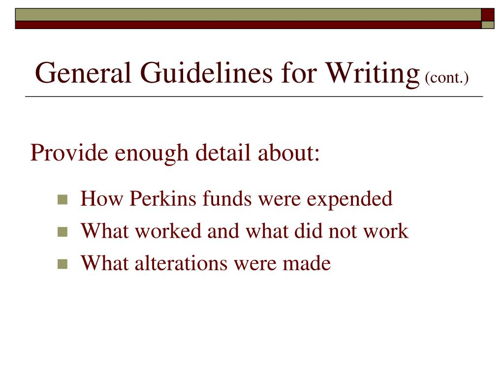 General Guidelines for Writing