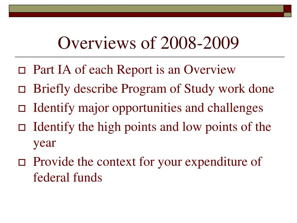 Overviews of 2008-2009