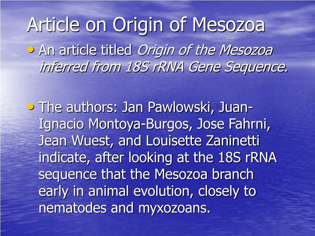 Article on Origin of Mesozoa