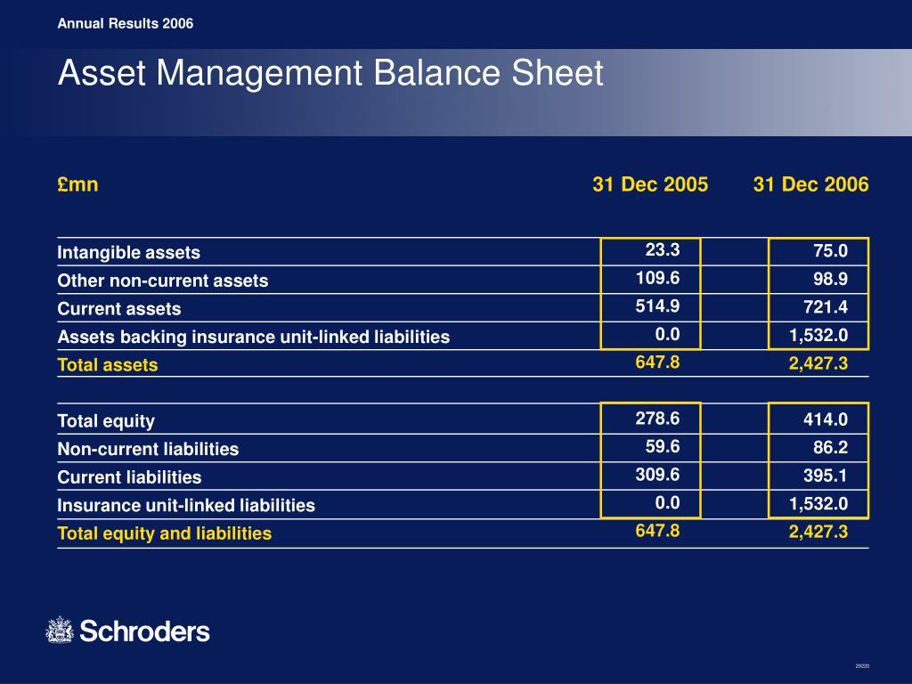 Asset Management Balance Sheet