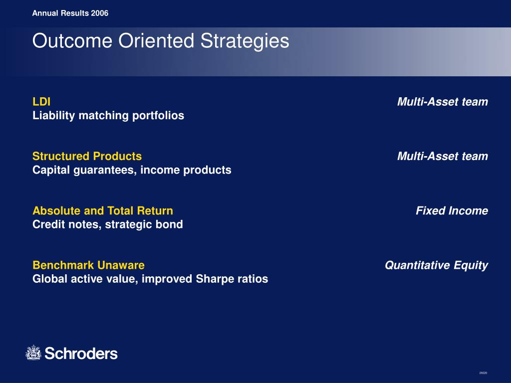 Outcome Oriented Strategies