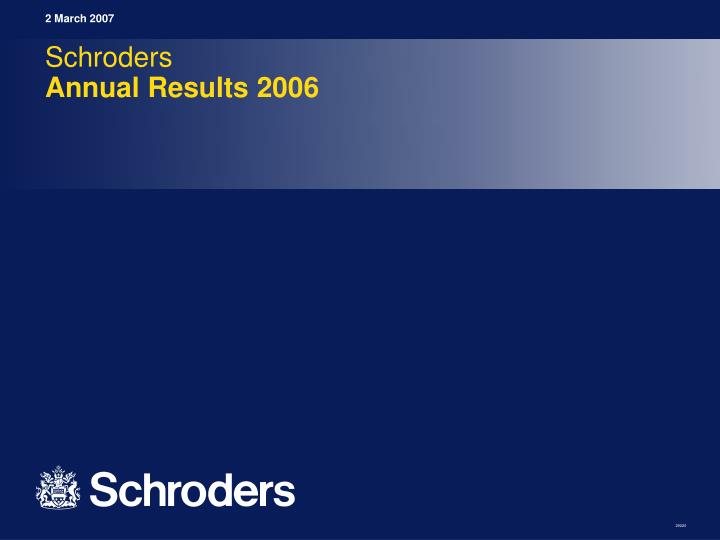 Schroders annual results 2006
