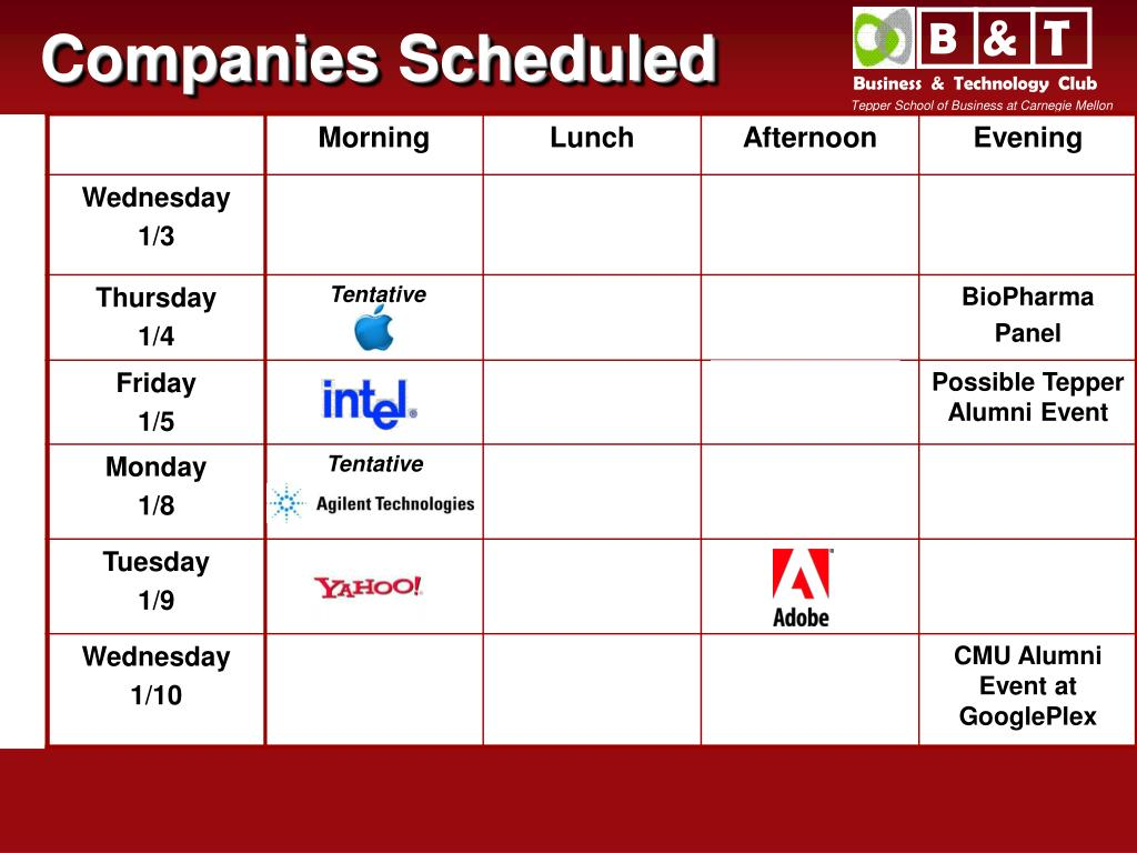 Companies Scheduled