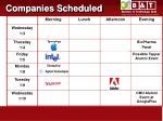 companies scheduled