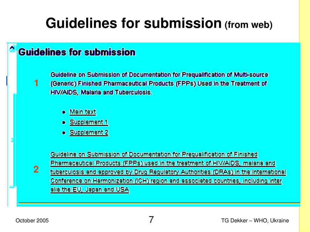 Guidelines for submission