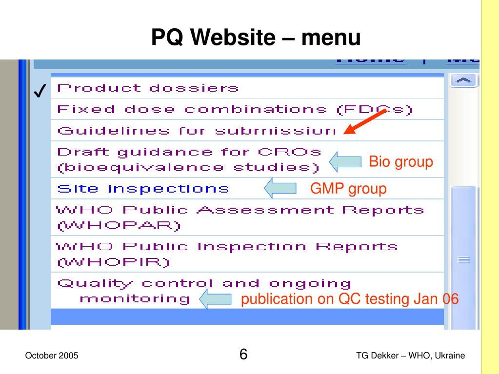 PQ Website – menu
