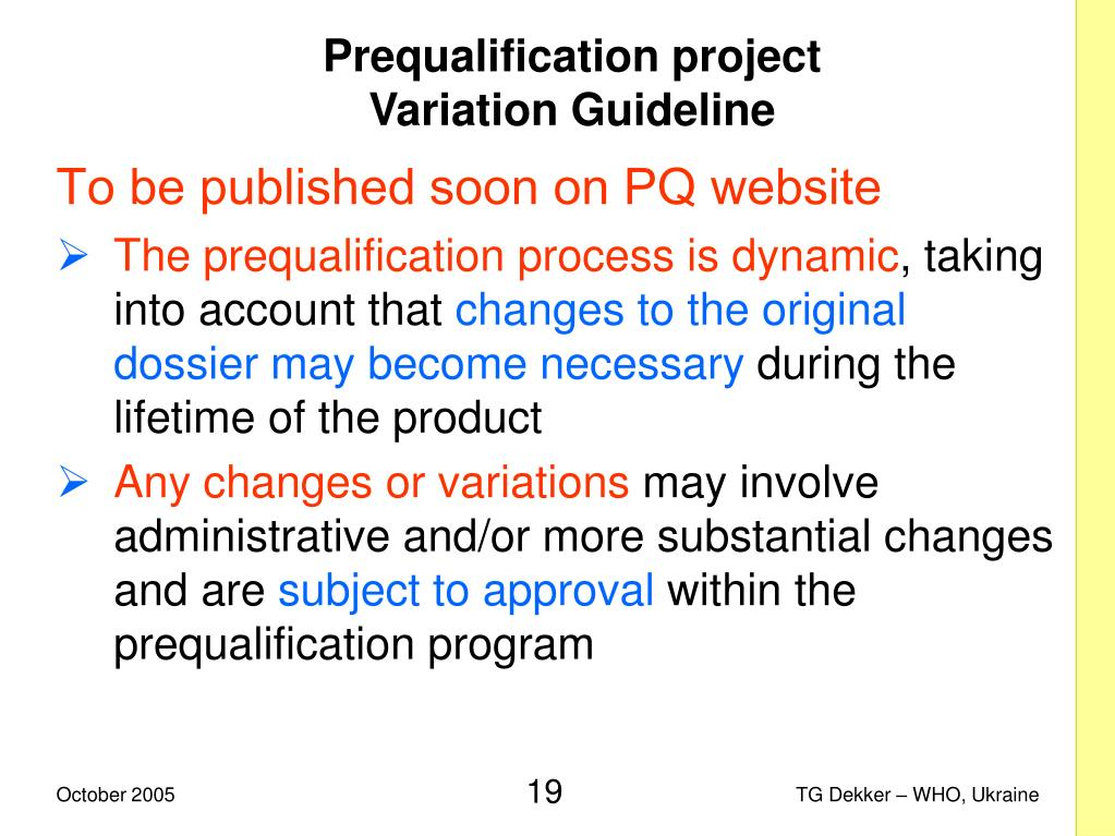 Prequalification project