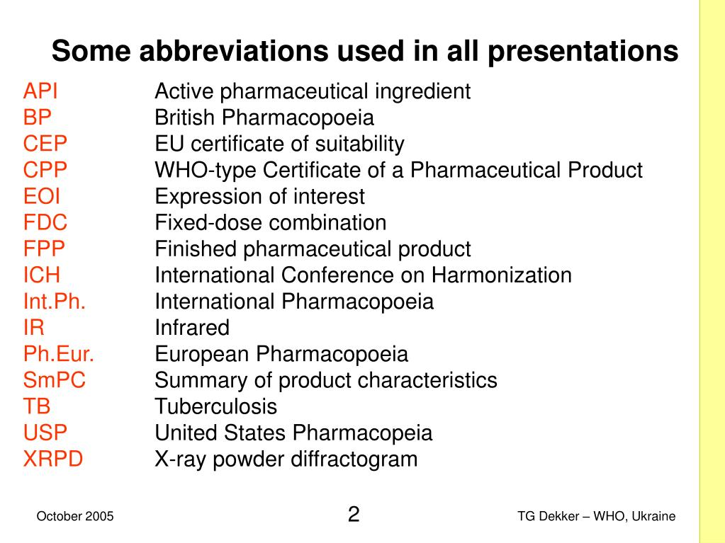 Some abbreviations used in all presentations