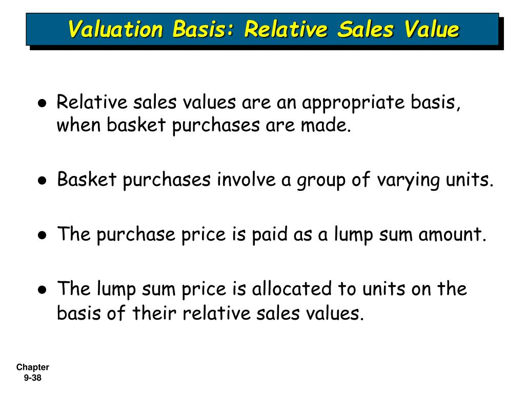 Valuation Basis: Relative Sales Value