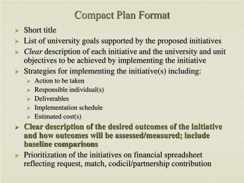 Compact Plan Format