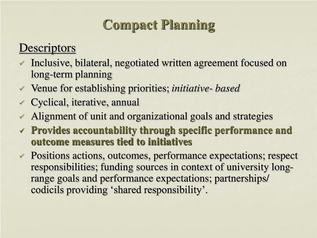Compact Planning