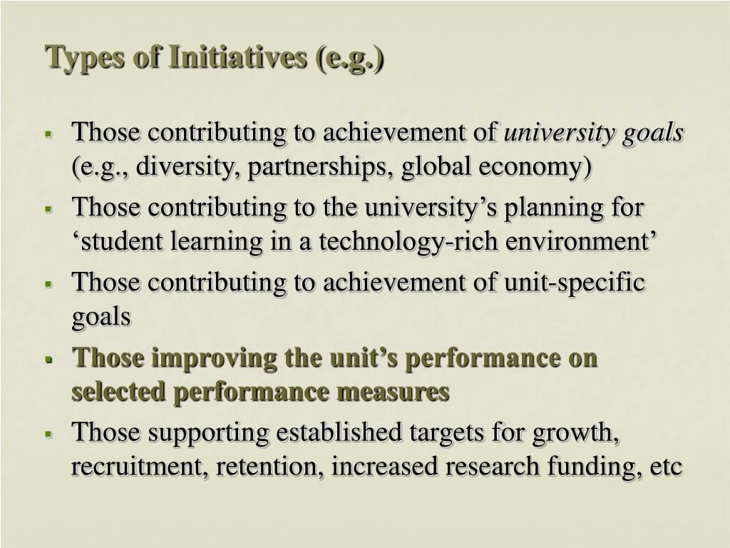 Types of Initiatives (e.g.)