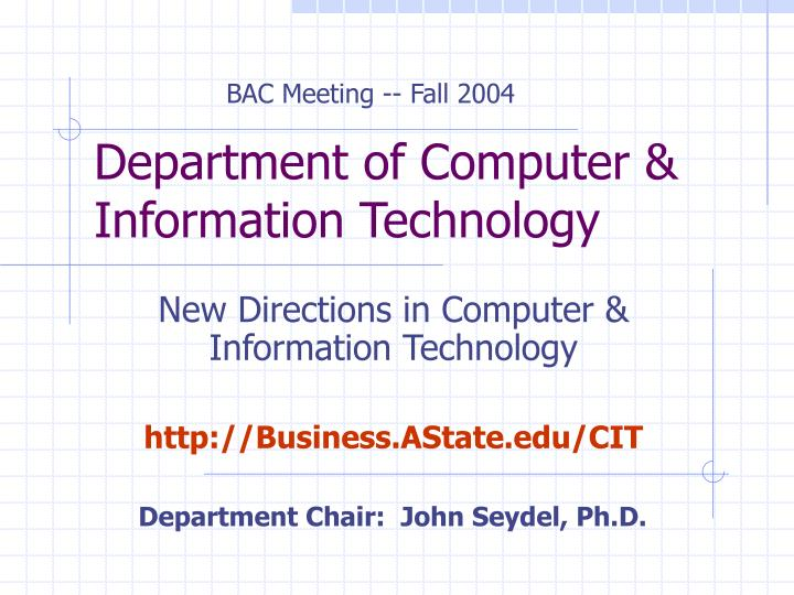 Department of computer information technology
