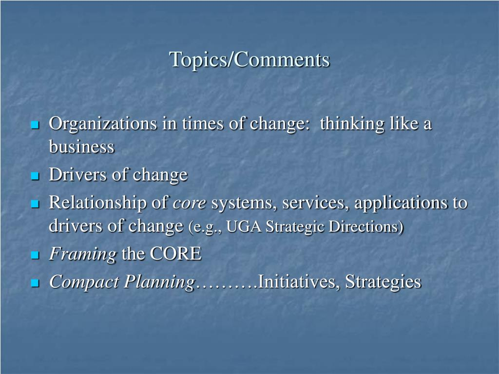Topics/Comments