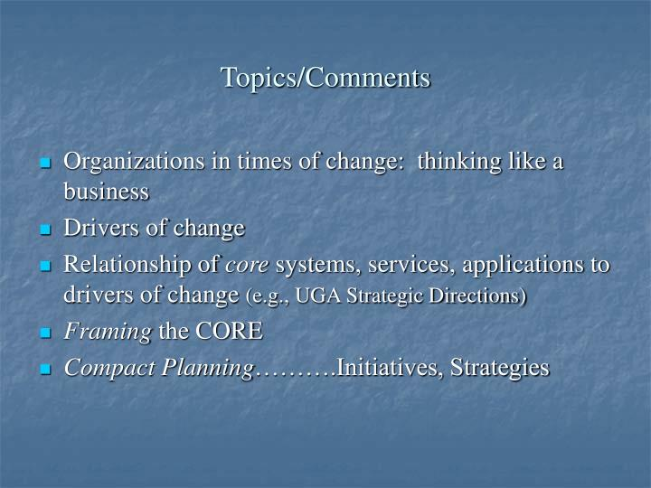 Topics comments