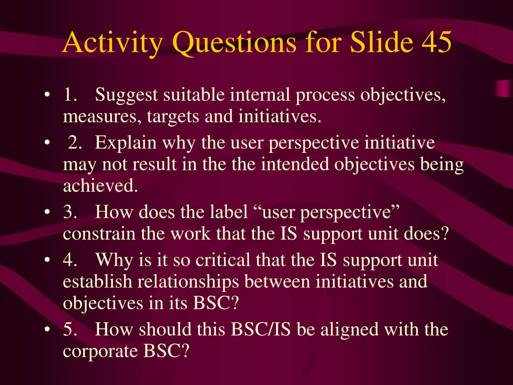 Activity Questions for Slide 45