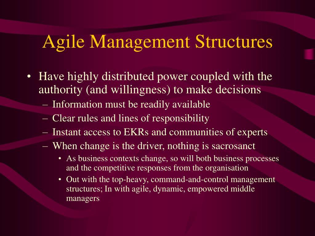 Agile Management Structures