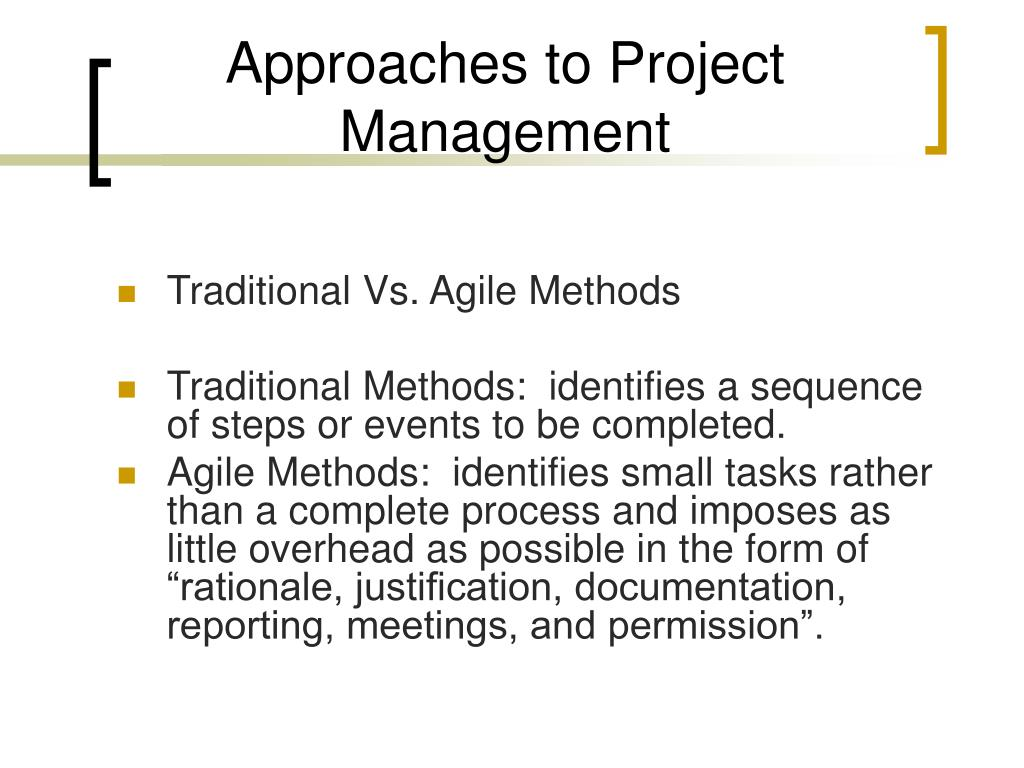 Approaches to Project Management