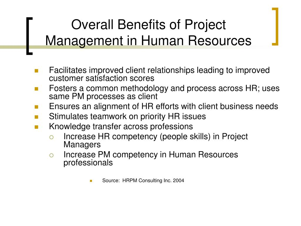 Overall Benefits of Project Management in Human Resources