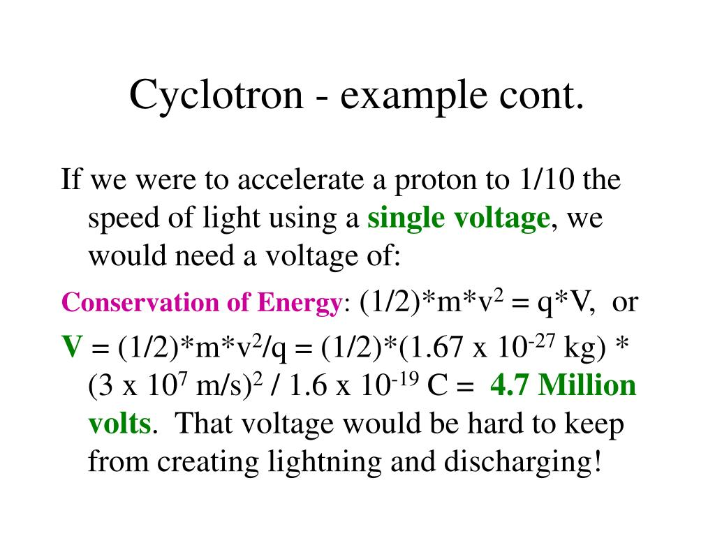 Cyclotron - example cont.