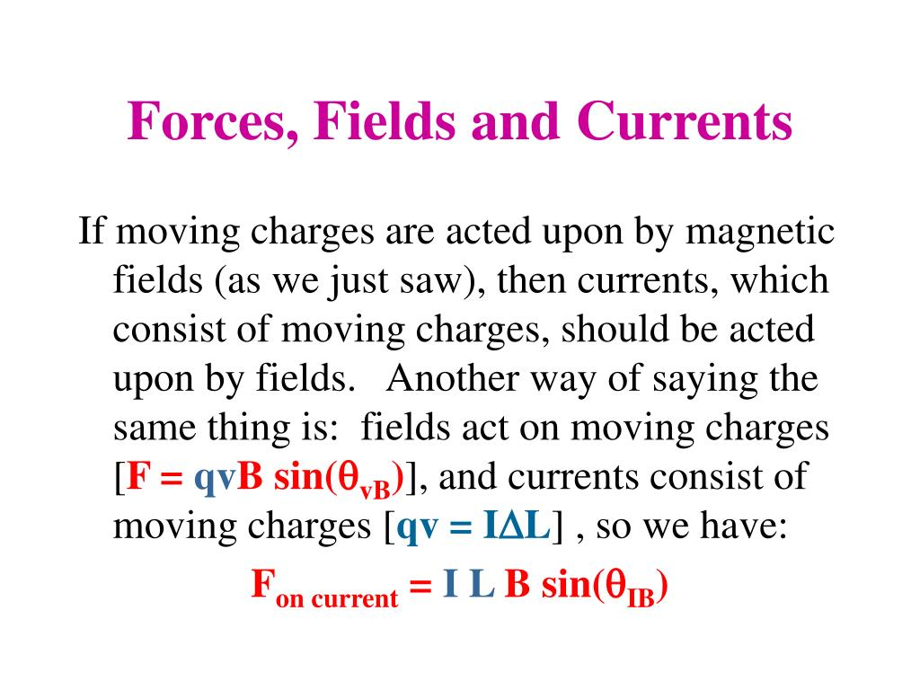 Forces, Fields and Currents
