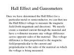 hall effect and gaussmeters