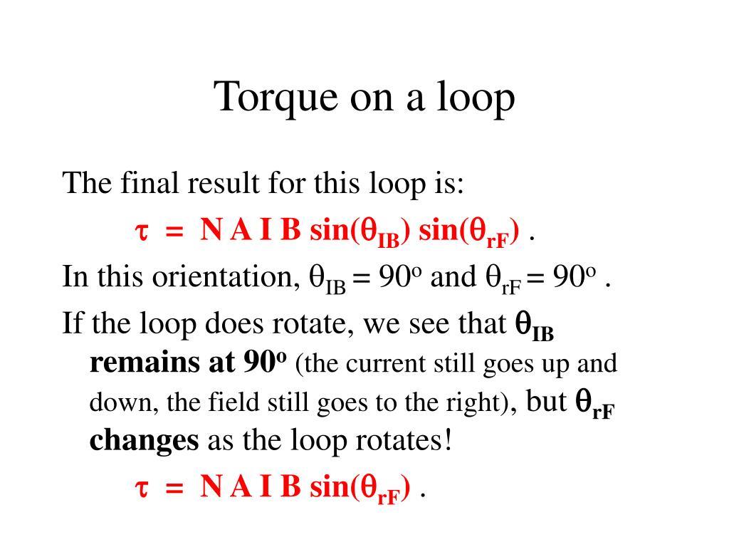 Torque on a loop