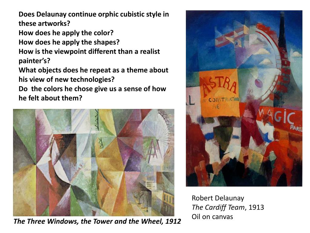 Does Delaunay continue orphic cubistic style in these artworks?