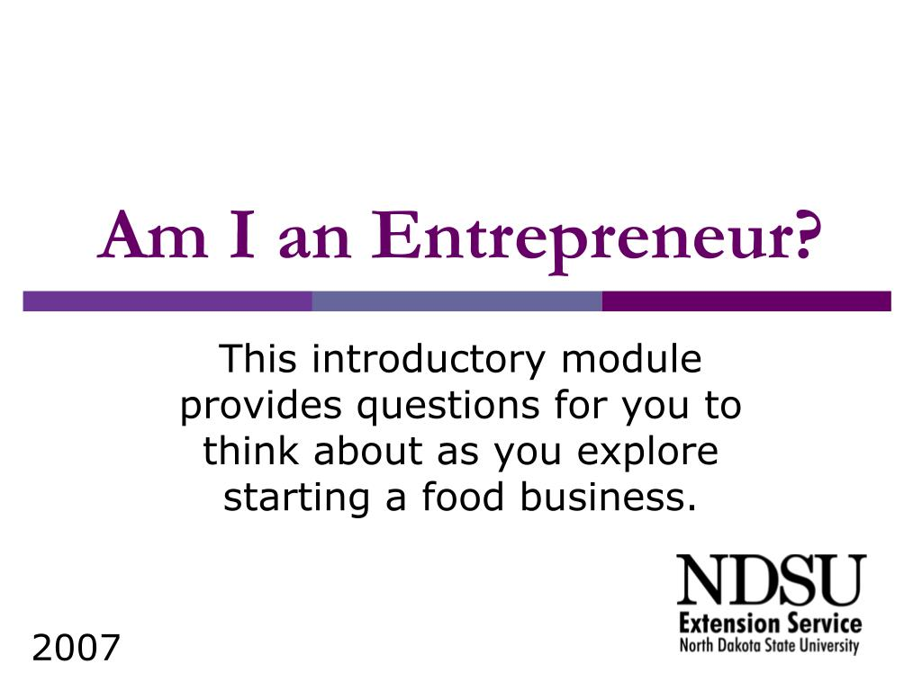 Am I an Entrepreneur?